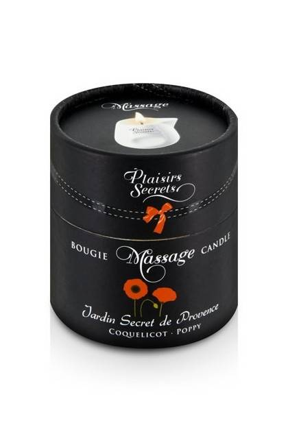 BOUGIE MASSAGE COQUELICOT 80ML Plaisirs secrets - 2