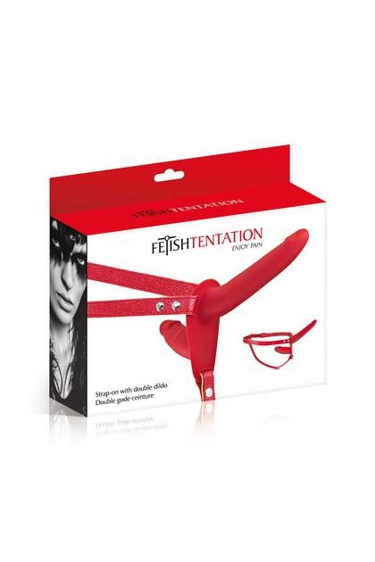 Double dildo belt red Fetish Temptation