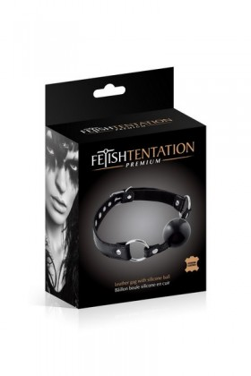 Baillon boule cuir bovin noir Fetish Tentation Premium