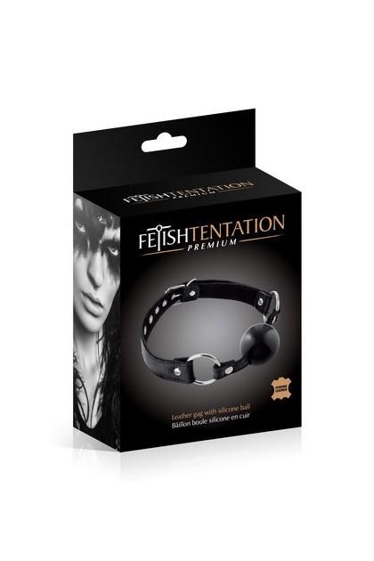 Gag ball leather cattle black Fetish Temptation Premium