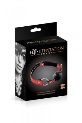 Gag ball leather bovine red Fetish Temptation Premium