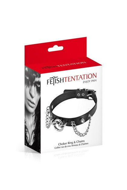 Choker Ring and Chains Black Fetish Tentation