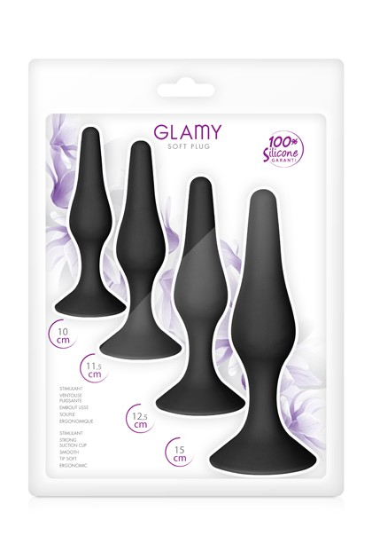 Coffret plugs anal noirs Glamy Glamy