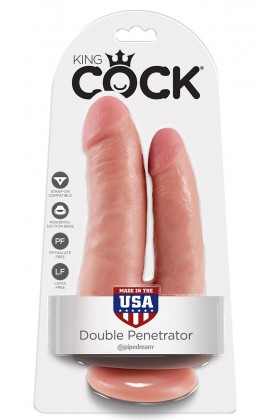 Double gode ventouse réaliste King Cock