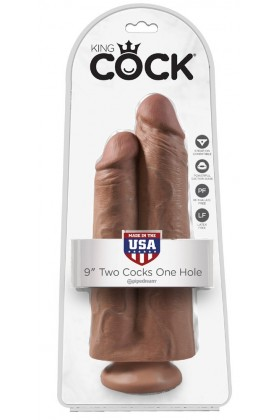 2 Cock 1 Hole Double Suction Cup Dildo - 25 cm