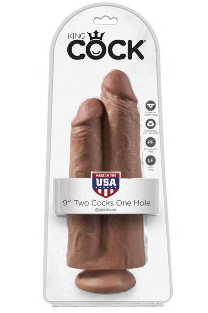 Double Gode Ventouse Hâlé 2 Cock 1 Hole - 25 cm