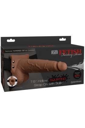 Tan Squirting Hollow Strap-On Dildo FF - 19 cm