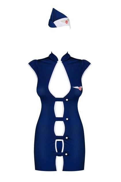 Stewardess Costume 3 pcs - Noir & Bleu