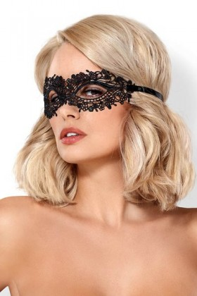 Obsessive black sexy embroidered mask A710