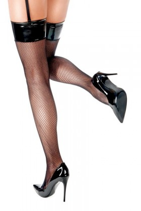 Black fishnet and vinyl domina stockings